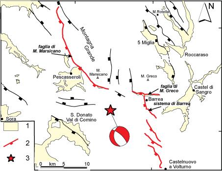 """Carta geologica-strutturale dell'area della Marsica. Gli elementi della legenda si riferiscono a: (1) depositi Plio-Quaternari; (2) faglie (linee nere e rosse) riconosciute dai geologi in superficie, il rettangolo indica il lato che viene ribassato (zona cosiddetta di """"tetto"""") , con il tratto rosso sono state evidenziate le faglie discusse nel testo; (3) epicentro del terremoto del 7 maggio 1984. Da Pace et al. (2002)."""