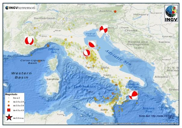 Meccanismi focali dei principali eventi sismici del mese di aprile 2014.