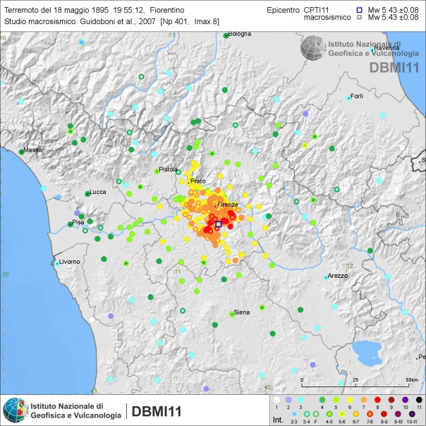 Effetti del terremoto del 18 maggio 1895 [fonte: DBMI11].