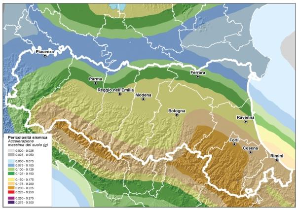Pericolosità sismica dell'Emilia Romagna