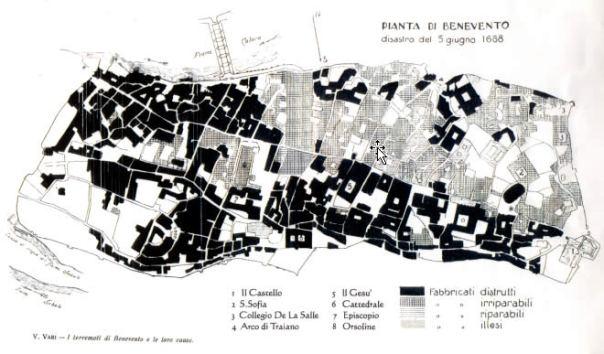 La pianta di Benevento con l'indicazione dei danni subito a seguito del terremoto del 5 giugno 1688 (fonte: V. Vari, 1927).
