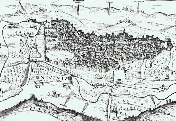 Una stampa raffigurante la città di Benevento nel XVII secolo.