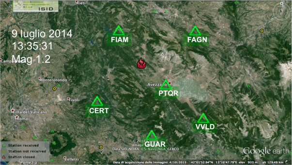 Localizzazione epicentrale dell'evento sismico del 9 luglio: il punto coincide entro 1-2 km con la posizione della fabbrica di fuochi d'artificio.