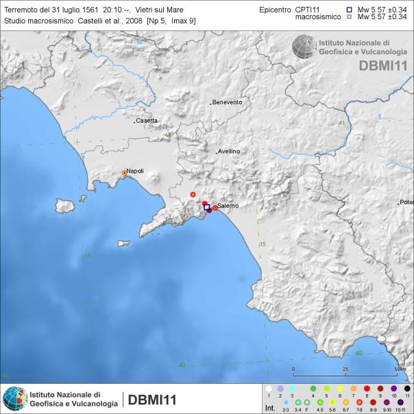 Effetti del terremoto tirrenico del 31 luglio 1561, secondo gli studi di Castelli et al. (2008) e Camassi et al. (2011) [fonte: DBMI11].