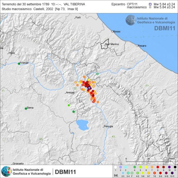 Distribuzione degli del terremoto del 30 settembre 1789 secondo Castelli (2002) [fonte: DBMI11].