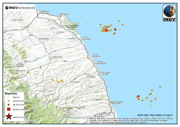 Le due sequenze sismiche in Adriatico centro-settentrionale durante il mese di agosto.
