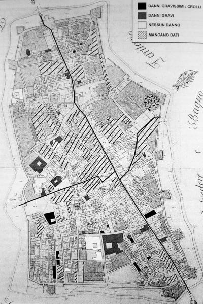 Distribuzione dei danni a Città di Castello (fonte: Castelli, 2002).