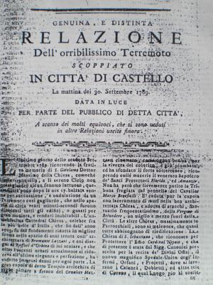 Il frontespizio della relazione sul terremoto scritta da Brami (1789).