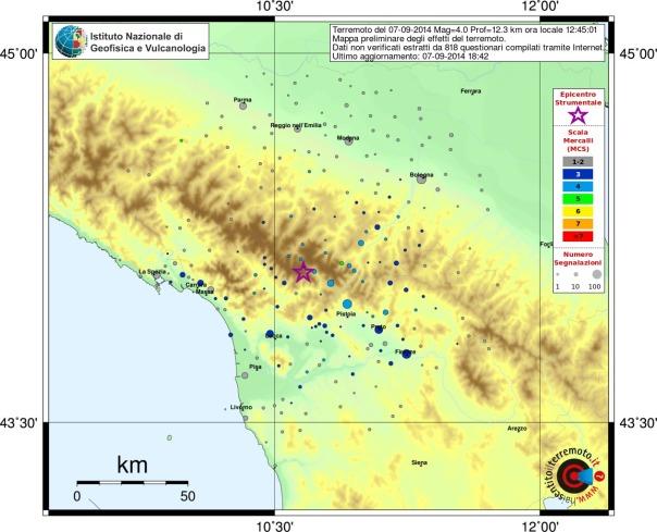 Mappa preliminare dei risentimenti segnalati al sito haisentitoilterremoto.it, aggiornata alle ore 16.33 di oggi.