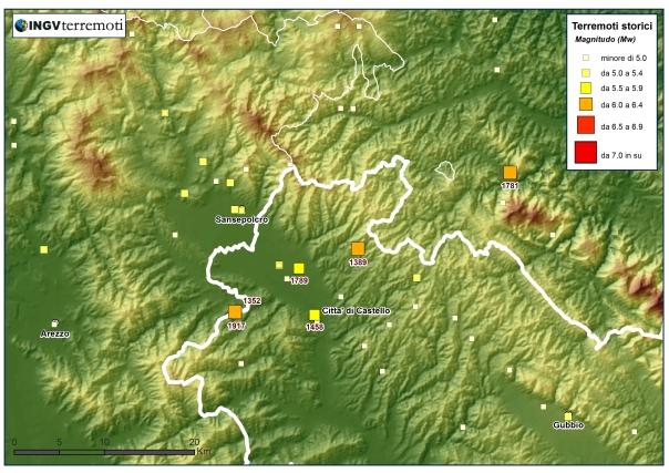 Distribuzione della sismicità storica in Umbria negli ultimi mille anni (fonte: CPTI11, http://emidius.mi.ingv.it/CPTI11).