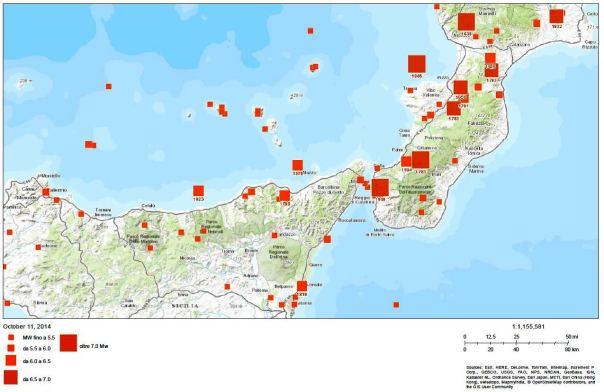 I forti terremoti del passato nell'area interessata dall'evento di magnitudo Ml 4.3.