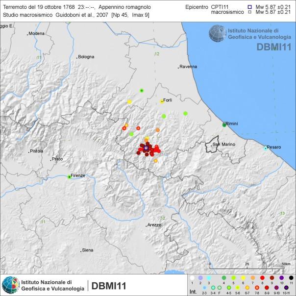 Distribuzione degli effetti del terremoto del 19 ottobre 1768 secondo Guidoboni et al. (2007) [fonte: DBMI11].