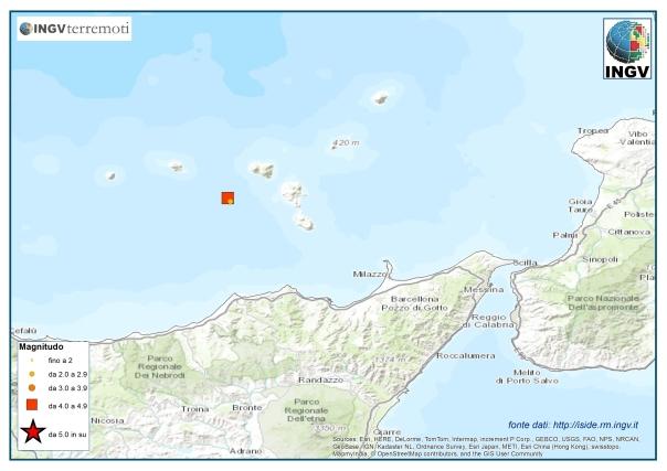 Localizzazione epicentrale dei due terremoti avvenuti questa notte alle Isole Eolie (http://cnt.rm.ingv.it/).