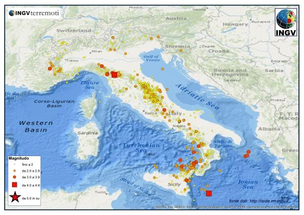 La distribuzione dei terremoti registrati dalla Rete Sismica Nazionale nel mese di settembre.