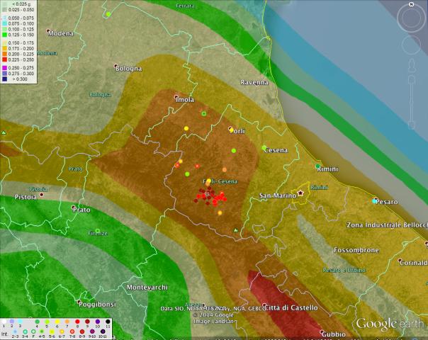 La distribuzione degli effetti del terremoto del 1768 sovrapposti alla mappa di pericolosità sismica [ http://zonesismiche.mi.ingv.it ].