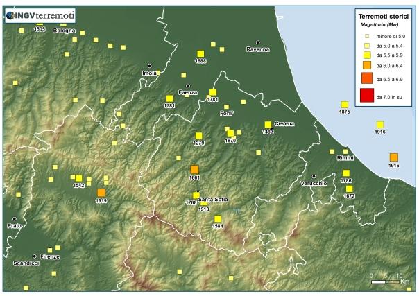 Distribuzione della sismicità storica dell'Appennino tosco-emiliano negli ultimi mille anni (fonte: CPTI11).