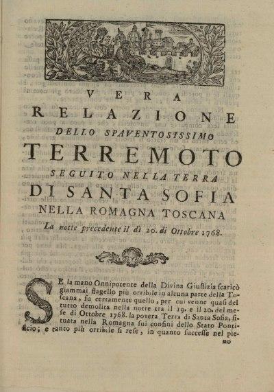 Il frontespizio di una relazione a stampa sul terremoto [disponibile in digitale sul portale: http://www.internetculturale.it/opencms/opencms/it/index.html, all'interno della Gazzetta Toscana, anno 1768, Tomo Terzo].