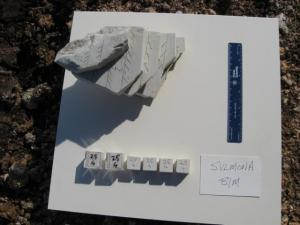 Sull'affioramento sono stati prelevati dei blocchi orientati da cui sono stati poi ottenuti dei cubi standard di 2 cm di lato per le misure magnetiche di laboratorio