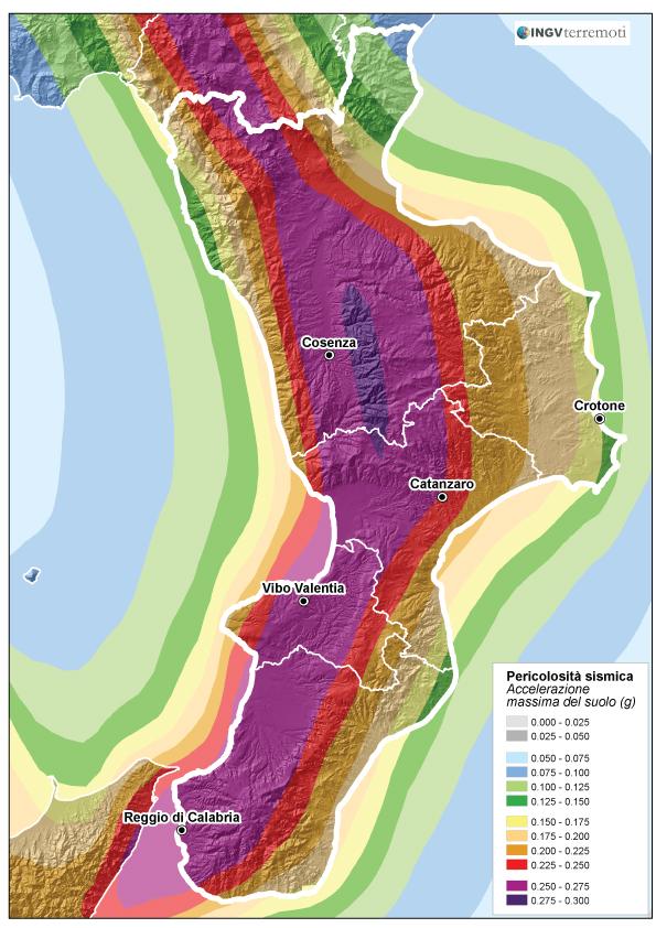 La pericolosità sismica in Calabria (fonte: zonesismiche.mi.ingv.it).