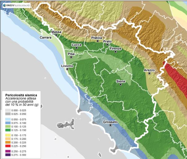 La pericolosità sismica della Toscana (fonte: http://zonesismiche.mi.ingv.it/).