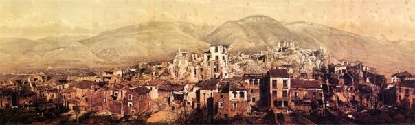 Veduta da ovest della parte alta di Polla distrutta dal terremoto del 16 dicembre 1857 (da Mallet, 1862).