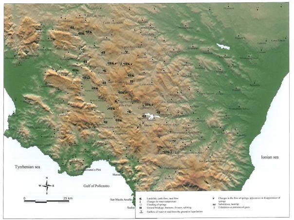 La distribuzione geografica degli effetti sull'ambiente causati da questo terremoto, (Fonte: Valensise e Guidoboni, 2000).
