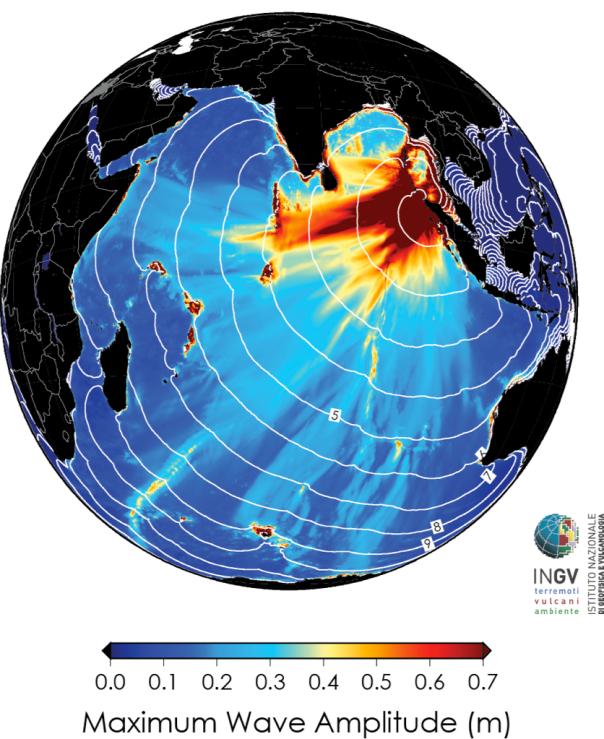 Simulazione numerica dell'altezza massima dell'onda di tsunami in mare aperto. Le linee bianche rappresentano la posizione del fronte dell'onda di tsunami a intervalli di 1 ora (Fonte: Ingv)