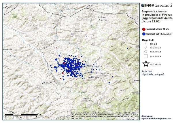 I terremoti registrati dal 18 dicembre nell'area interessata dalla sequenza. In rosso gli eventi delle ultime 24 ore.