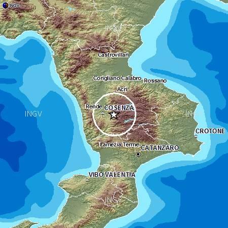 Evento sismico in provincia di cosenza m4 4 28 dicembre for Ingv lista terremoti di oggi