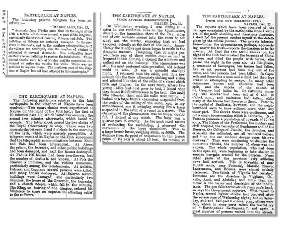 Ritagli di articoli comparsi sul Times, di Londra, recanti le prime notizie del terremoto nel Regno delle Due Sicilie.