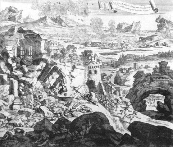 Stampa tedesca dell'epoca che illustra i danni del terremoto [fonte: Azzaro et al. (2008) http://www.edurisk.it/it/itinerari/viaggi-virtuali.html].
