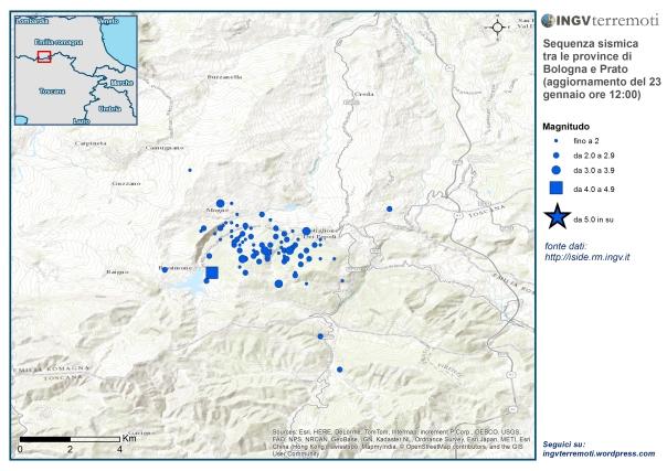 Localizzazione dell'evento sismico di magnitudo 4.1 (quadrato blu) e di tutte le scosse avvenute oggi fino alle ore 12.00 italiane.