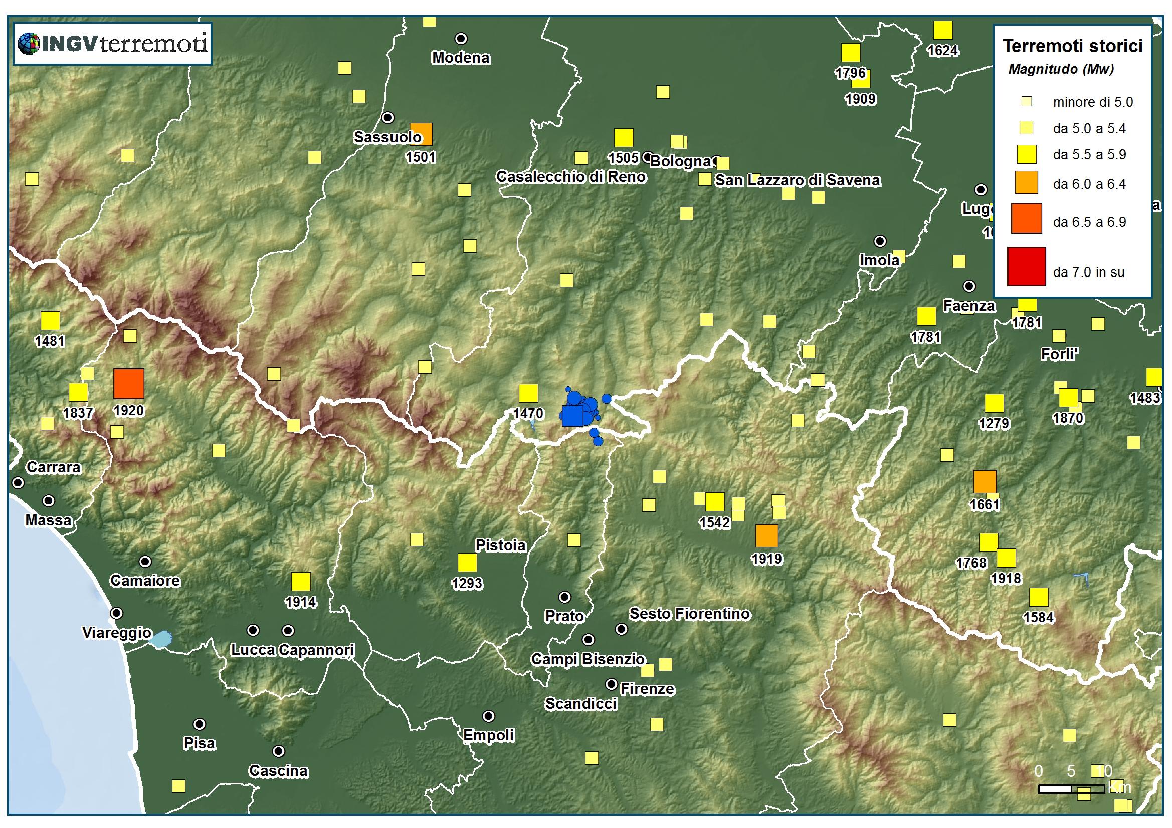 Eventi sismici tra le province di bologna e prato for Eventi in toscana oggi