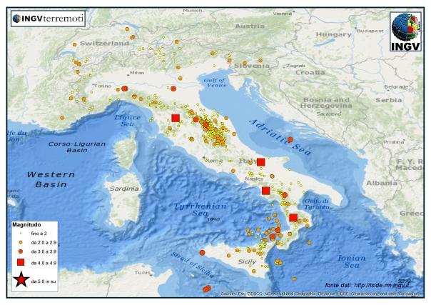 La sismicità dal 1 al 31 dicembre 2014.