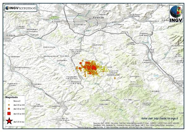 La sequenza sismica nella Valle del Chianti (provincia di Firenze) nel mese di dicembre 2014.