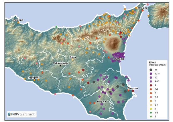 Distribuzione degli effetti del terremoto dell' 11 gennaio 1693 secondo Guidoboni et al. (2007) [fonte: DBMI11].