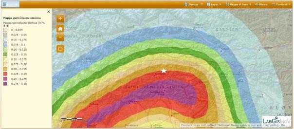 La pericolosità sismica della Calabria (fonte: http://zonesismiche.mi.ingv.it/). La stella bianca è l'epicentro del terremoto di magnitudo 4.1.