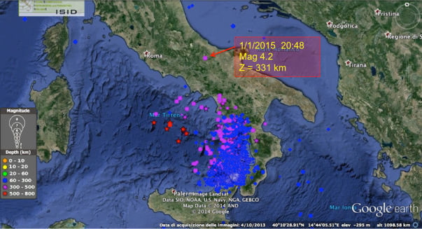 Il terremoto di ieri 1/1/2015 alle 20:48 è avvenuto a nord della zona classica dei terremoti profondi in Italia.