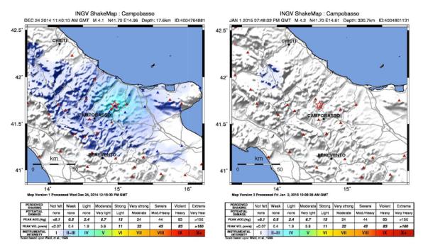 Confronto tra mappe di scuotimento di due terremoti della stessa magnitudo ma avvenuti a profondità molto diverse (17 e 330 km). Si nota bene la differenza tra i valori delle intensità stimate per il terremoto crostale (II-IV grado Mercali modif.) e quello profondo (in pratica zero).