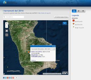 La story map della sismicità del 2014.