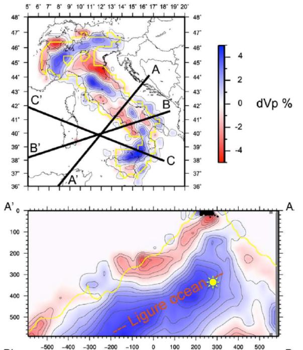 Modello di tomografia sismica delle onde P in mappa (a profondità di ... km) e in profondità lungo la sezione AA', che passa circa per l'epicentro del terremoto profondo dell'1 gennaio (il simbolo giallo rappresenta la posizione dell'ipocentro)