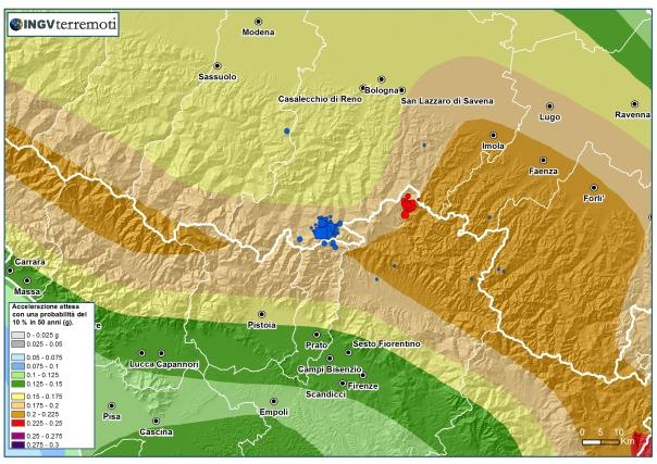 La pericolosità sismica dell'Appennino tosco-emiliano (fonte: http://zonesismiche.mi.ingv.it/) con gli eventi avvenuti oggi fino alle ore 12.00 italiane (sovrapposti alla mappa e indicati in blu).