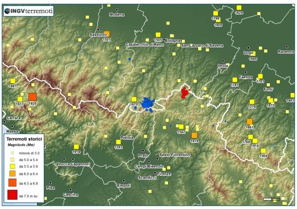 Sismicità storica dell'Appennino tosco-emiliano (fonte: CPTI11). In blu gli eventi avvenuti oggi fino alle ore 12.00 italiane.