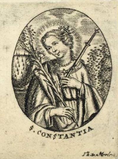 Stampa settecentesca raffigurante s. Costanza martire, che per una casualità del calendario ha dato al terremoto il suo nome