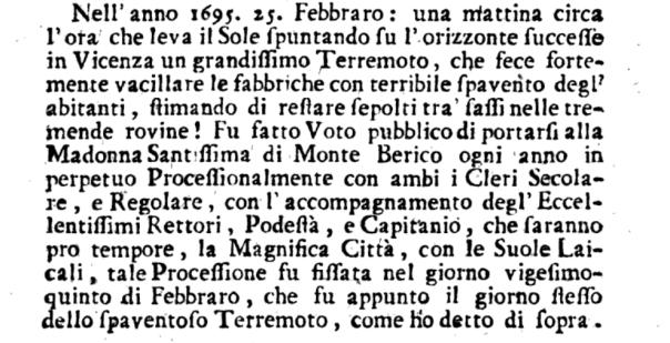 """Il """"voto perpetuo"""" decretato a Vicenza dopo il terremoto del 1695 (da Sangiovanni, 1776)."""