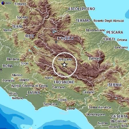 L'epicentro del terremoto di questa notte di magnitudo ML 3.9.