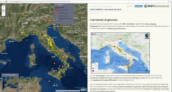 """La story map """"MAP JOURNAL"""" della sismicità del 2015"""