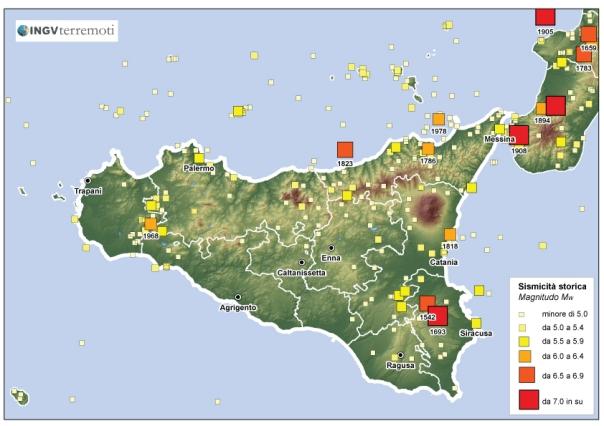 Distribuzione della sismicità storica in Sicilia negli ultimi mille anni (fonte: CPTI11, http://emidius.mi.ingv.it/CPTI11).