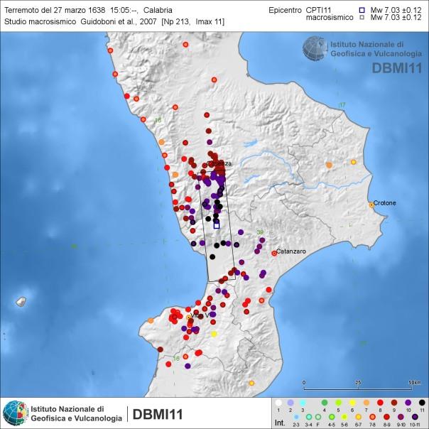 Distribuzione degli effetti del terremoto del 27 marzo 1638 secondo Guidoboni et al. (2007) [fonte: DBMI11 link]. Secondo altri autori (Galli & Bosi, 2003) questo scenario fu dovuto non ad una sola grande scossa ma ad almeno 3 forti scosse avvenute tra il 27 e il 28 marzo con valori di magnitudo equivalente Mw compresi tra 6.6 e 6.8.