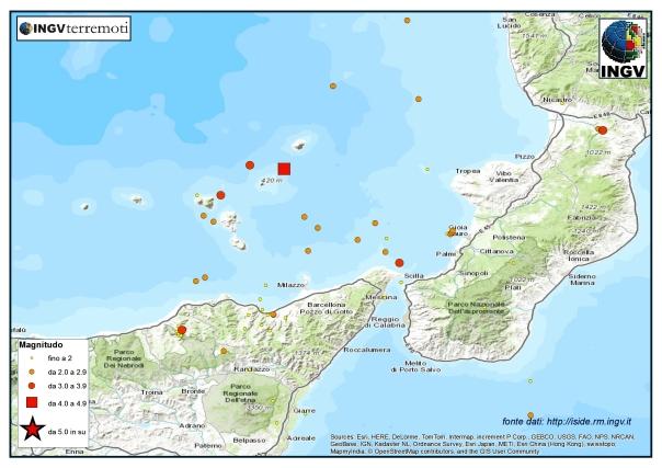 La sismicità nel basso Tirreno nel mese di febbraio. Si nota l'evento profondo del 6 febbraio Mw 4.7 rappresentato da un quadrato rosso.